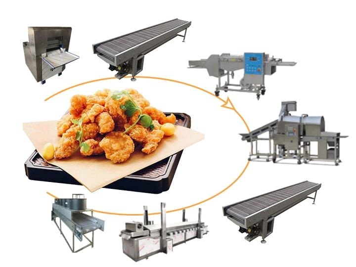 chicken popcorn processing machine