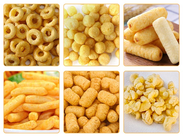 corn puff products produced by puffing machine